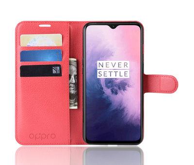 OPPRO OnePlus 7 Hoesje Wallet Flip Case Rood