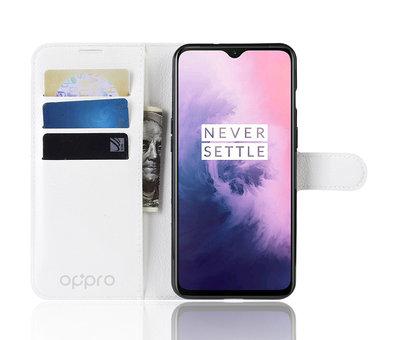 OPPRO OnePlus 7 Wallet Flip Case Weiß