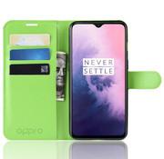 OPPRO OnePlus 7 Hoesje Wallet Flip Case Groen