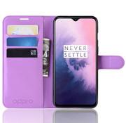 OPPRO OnePlus 7 Wallet Flip Case Hülle Lila