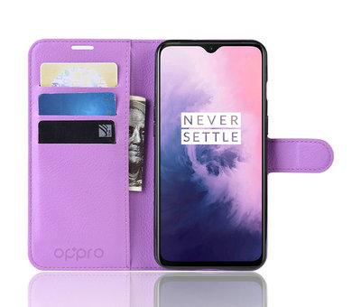 OPPRO OnePlus 7 Hoesje Wallet Flip Case Paars
