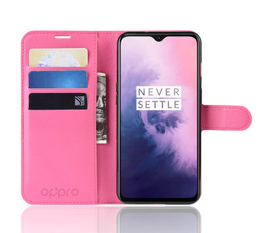 OPPRO OnePlus 7 Hoesje Wallet Flip Case Roze