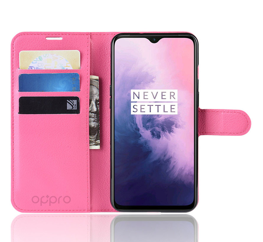 OnePlus 7 Hoesje Wallet Flip Case Roze
