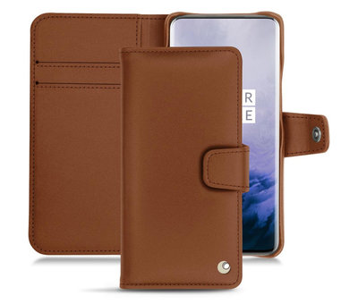 Noreve OnePlus 7 Pro Wallet Case Genuine Leather Brown
