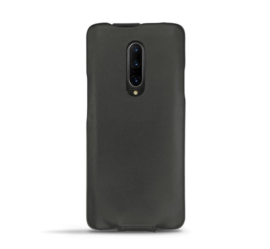 OnePlus 7 Pro Verticaal Flip Hoesje Echt Leder Bruin