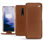 Noreve OnePlus 7 Pro Vertical Flip Case Echtes Leder Braun