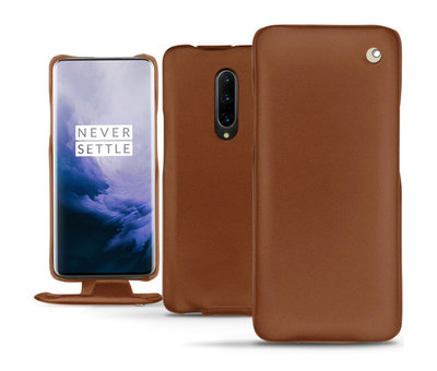 Noreve OnePlus 7 Pro Vertical Flip Case Genuine Leather Brown