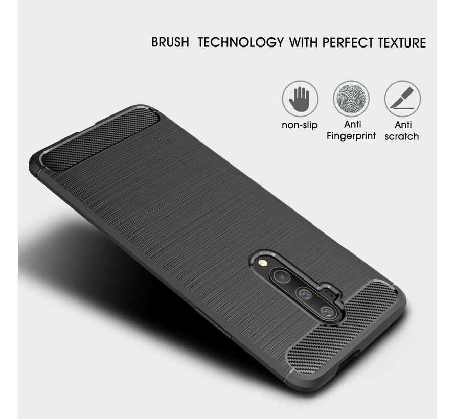 OnePlus 7T Pro Hoesje Brushed Carbon Zwart