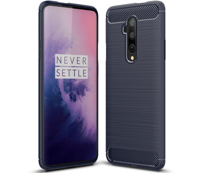 OPPRO OnePlus 7T Pro Hoesje Brushed Carbon Blauw