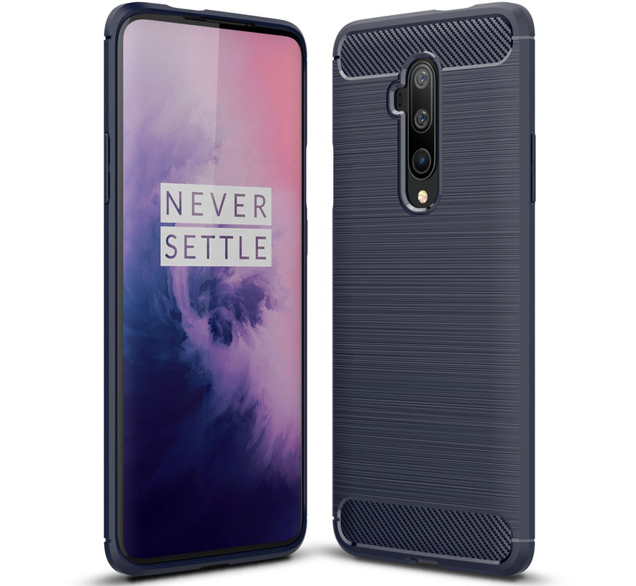 OnePlus 7T Pro Hoesje Brushed Carbon Blauw