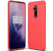 OPPRO OnePlus 7T Pro Hoesje Brushed Carbon Rood