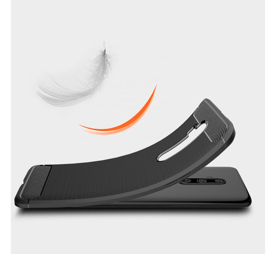 OnePlus 7T Pro Hoesje Brushed Carbon Rood