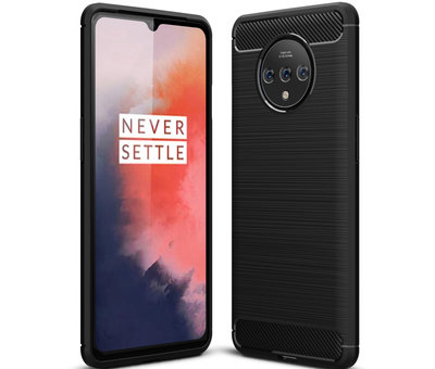 OPPRO OnePlus 7T Hoesje Brushed Carbon Zwart