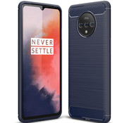OPPRO OnePlus 7T Hoesje Brushed Carbon Blauw
