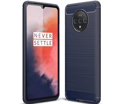 OPPRO OnePlus 7T Hülle Brushed Carbon Blau