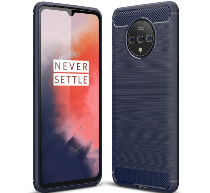 OnePlus 7T Hülle Brushed Carbon Blau