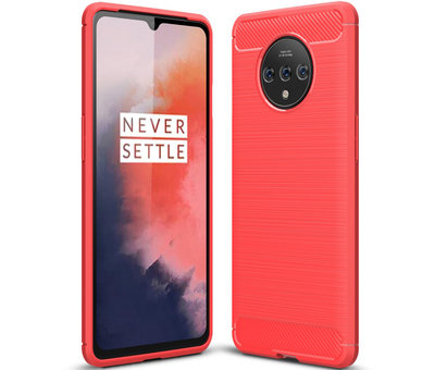 OPPRO OnePlus 7T Hülle Brushed Carbon Rot