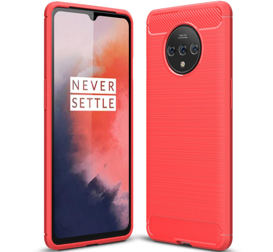OnePlus 7T Case Brushed Carbon Red