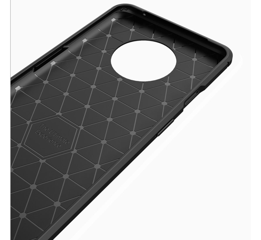 OnePlus 7T Hoesje Brushed Carbon Rood