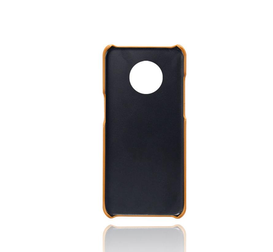 OnePlus 7T Hoesje Slim Leder Kaarthouder Cognac Bruin
