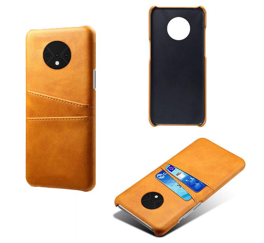 OnePlus 7T Case Slim Leder Kartenhalter Cognac Braun