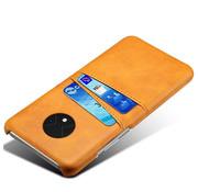 OPPRO OnePlus 7T Case Slim Leder Kartenhalter Cognac Braun