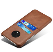 OPPRO OnePlus 7T Case Slim Leather Card Holder Brown