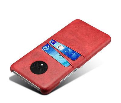 OPPRO OnePlus 7T Hoesje Slim Leder Kaarthouder Rood