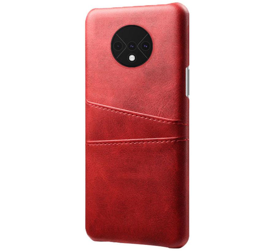 OnePlus 7T Case Slim Leder Kartenhalter Rot