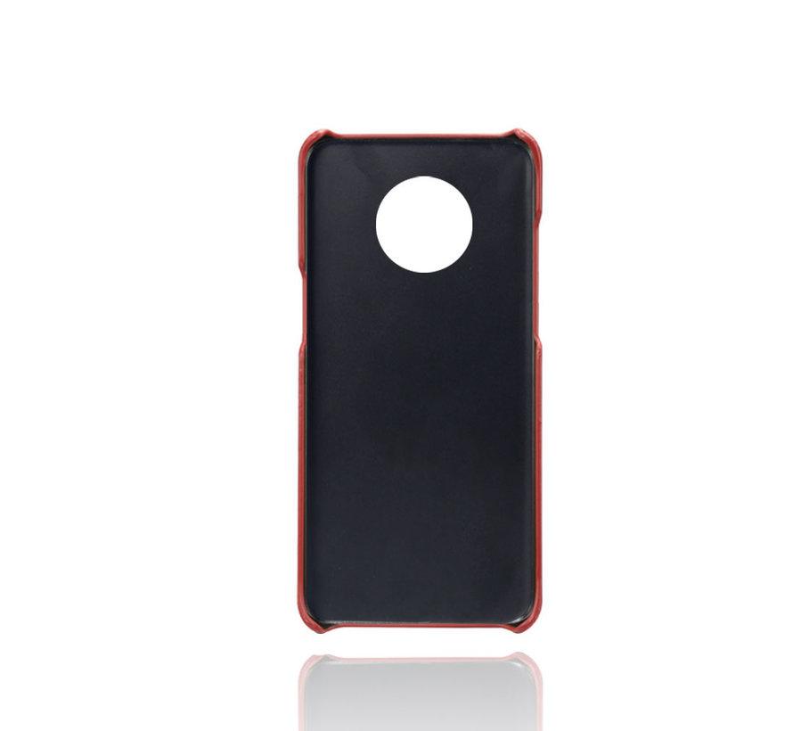 OnePlus 7T Hoesje Slim Leder Kaarthouder Rood