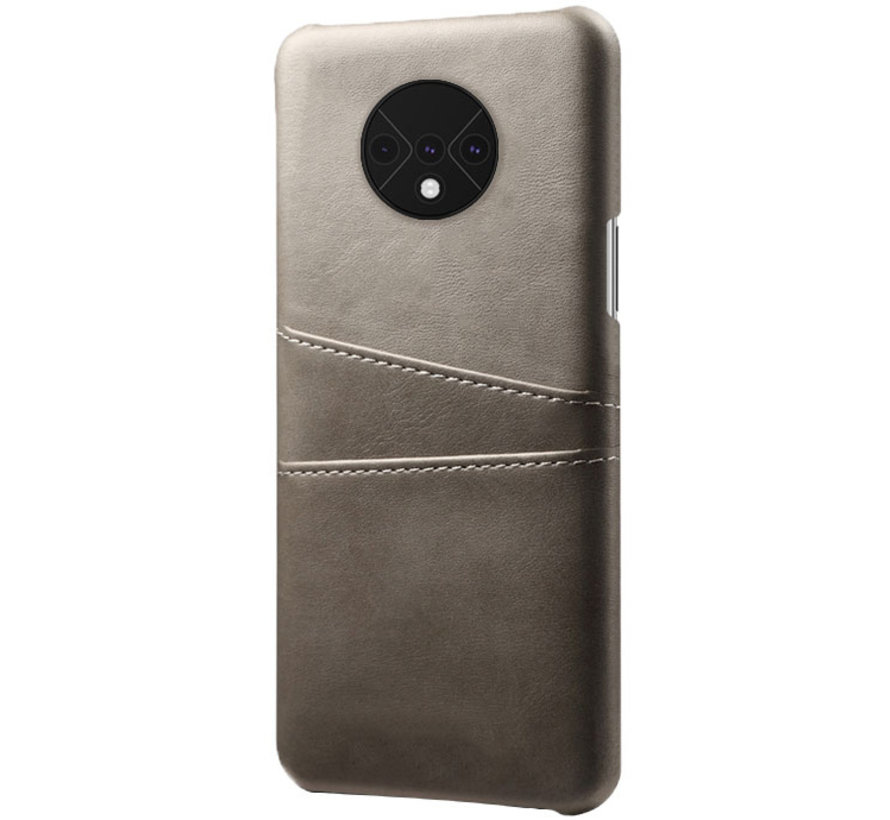 OnePlus 7T Case Slim Leder Kartenhalter Grau