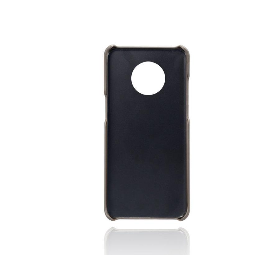OnePlus 7T Hoesje Slim Leder Kaarthouder Grijs