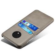 OPPRO OnePlus 7T Hoesje Slim Leder Kaarthouder Grijs