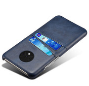 OPPRO OnePlus 7T Case Slim Leather Card Holder Blue