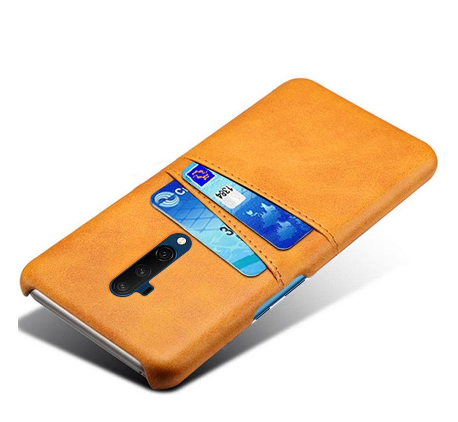 OnePlus 7T Pro Hoesje Slim Leder Kaarthouder Cognac Bruin