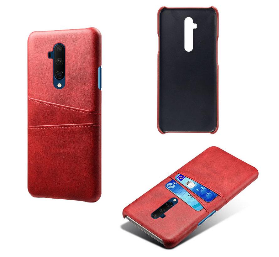 OnePlus 7T Pro Hoesje Slim Leder Kaarthouder Rood