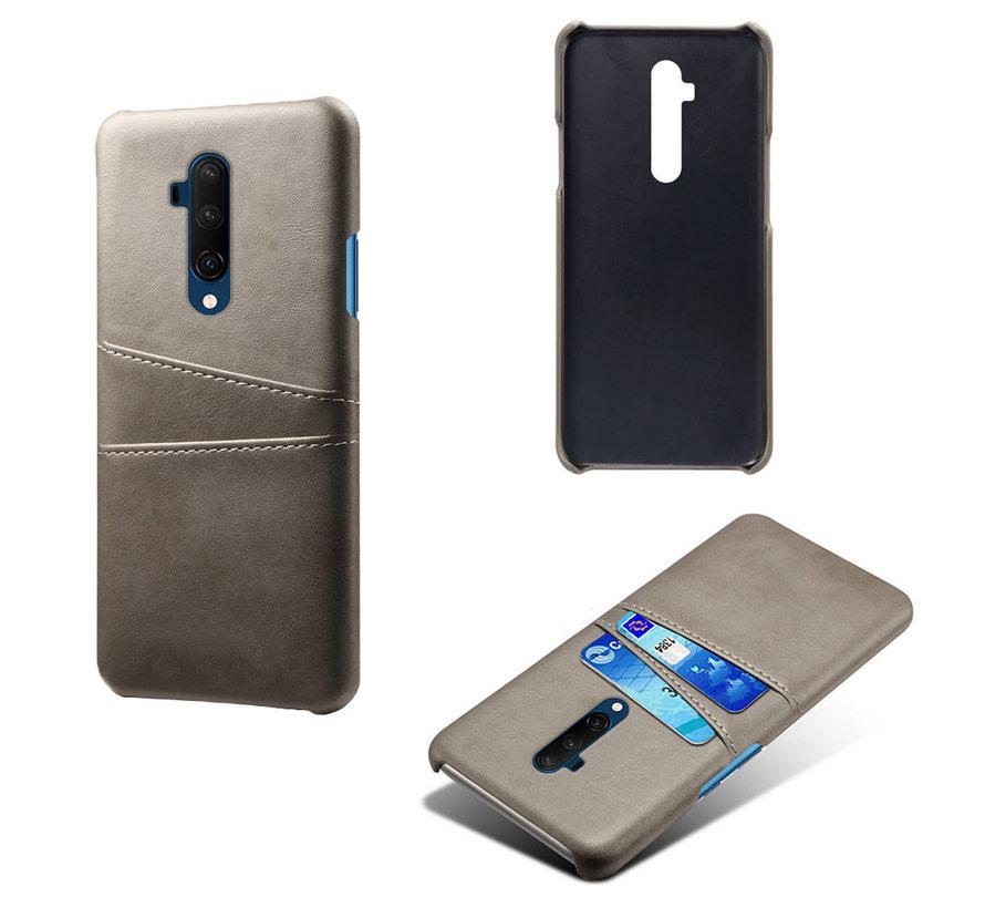 OnePlus 7T Pro Hoesje Slim Leder Kaarthouder Grijs