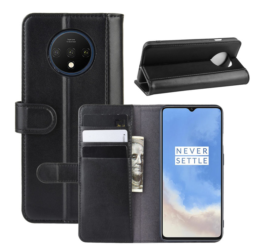 OnePlus 7T Wallet Case Echtes Leder Schwarz