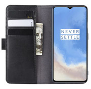 OPPRO OnePlus 7T Wallet Case Genuine Leather Black