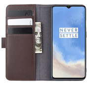 OPPRO OnePlus 7T Wallet Case Echtes Leder Braun