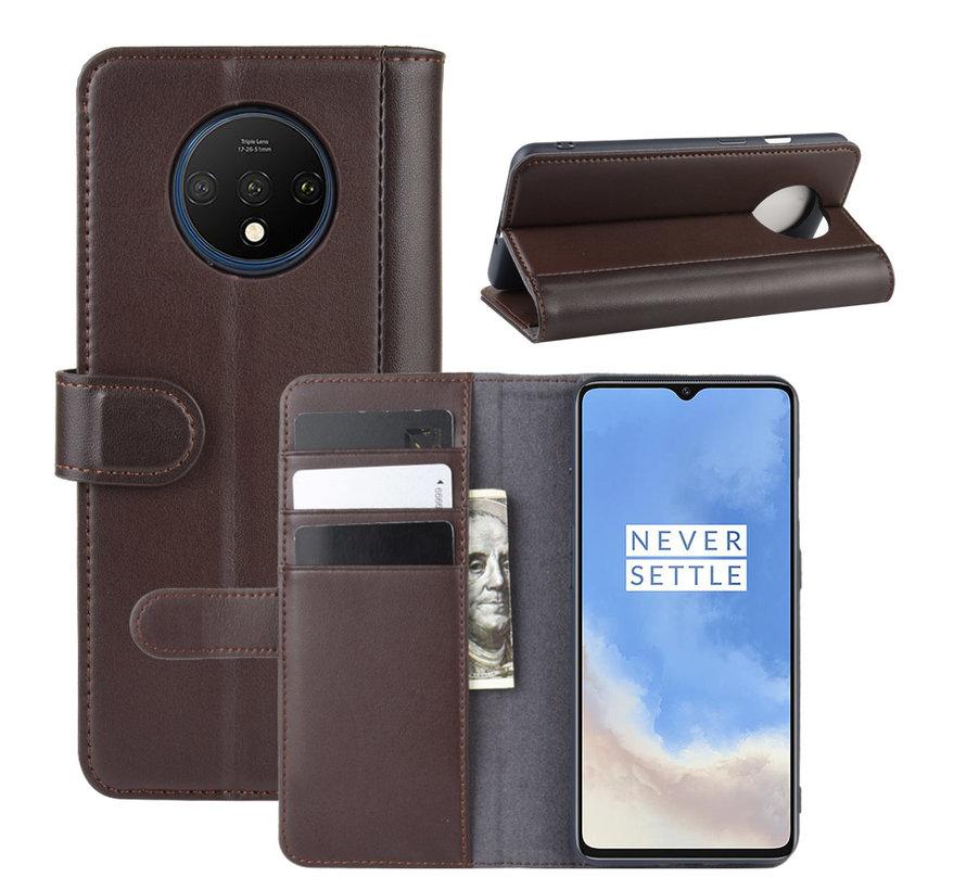 OnePlus 7T Wallet Hoesje Echt Leder Bruin