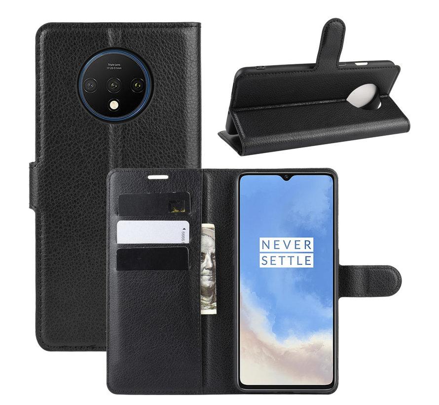 OnePlus 7T Wallet Flip Case Schwarz