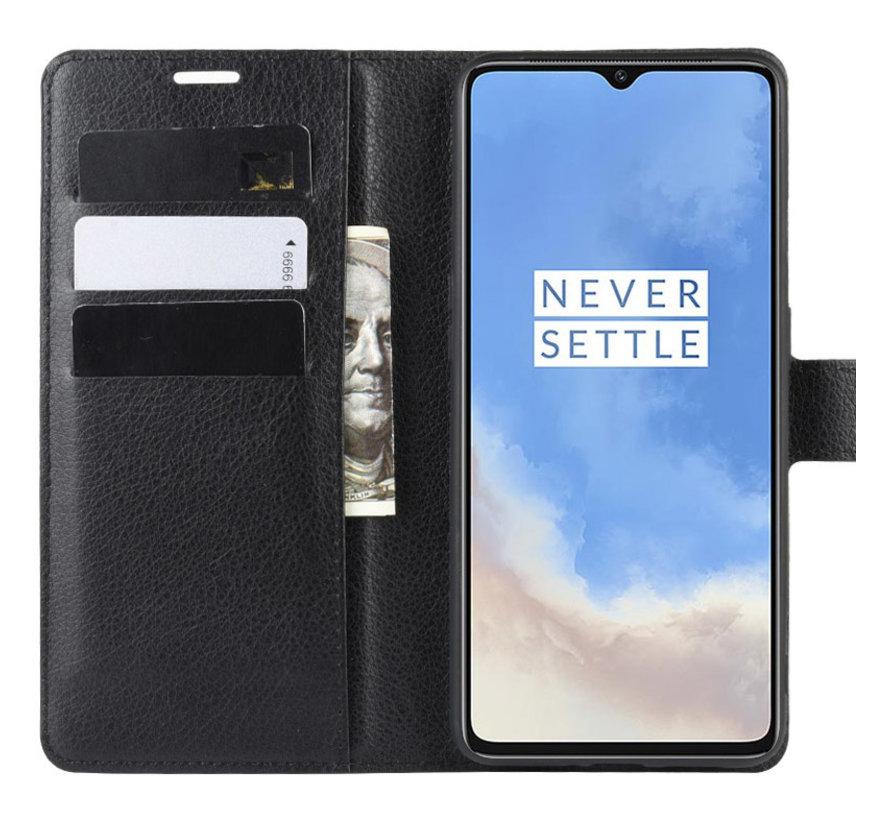 OnePlus 7T Wallet Flip Case Zwart
