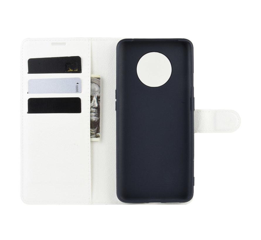 OnePlus 7T Wallet Flip Case Weiß
