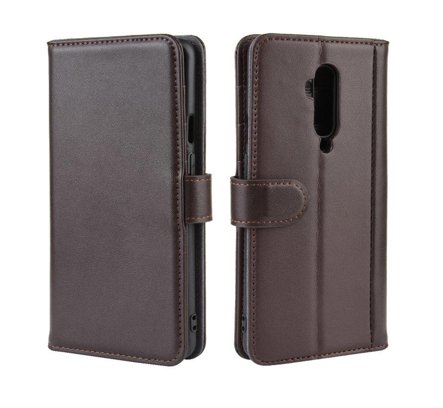 OnePlus 7T Pro Wallet Hoesje Echt Leder Bruin