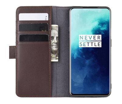 OPPRO OnePlus 7T Pro Wallet Case Echtes Leder Braun