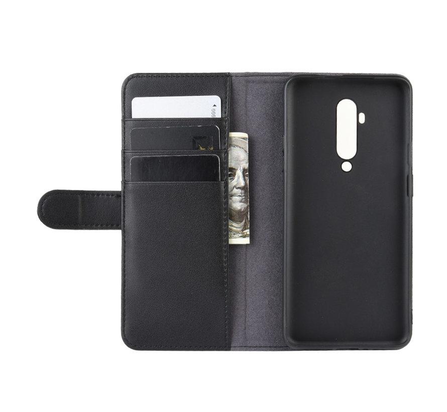 OnePlus 7T Pro Wallet Hoesje Echt Leder Zwart