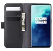 OPPRO OnePlus 7T Pro Wallet Hoesje Echt Leder Zwart