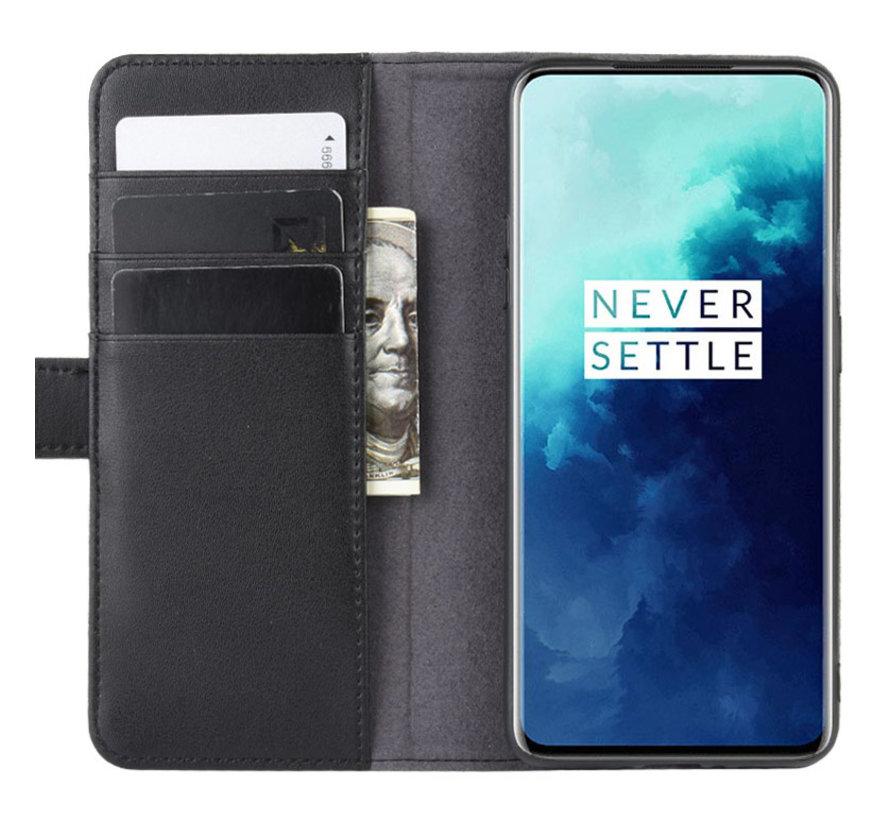 OnePlus 7T Pro Wallet Case Echtes Leder Schwarz