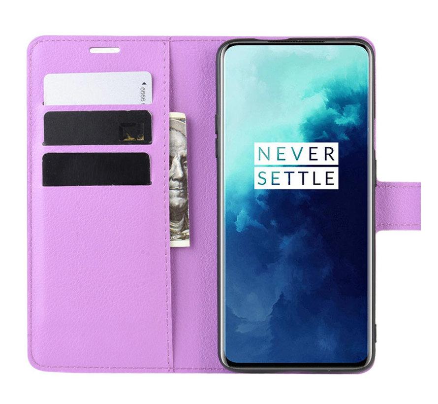 OnePlus 7T Pro Wallet Flip Case Paars